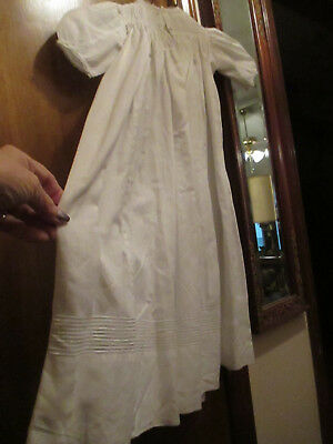 """Vintage White Baby long 23"""" dress with yolk and line pattern on botton"""
