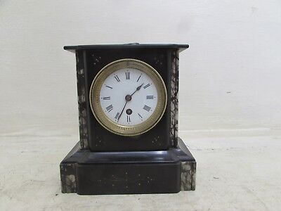 Antique Petite Black Slate & Marble Cased Mantel Clock C & S Movement Working