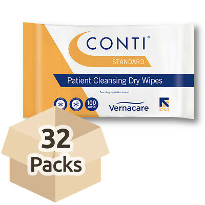 Conti Standard Patient Cleansing Dry Wipes - 26cm x 20cm - Case - 32 Packs