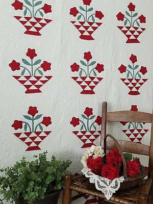 So Fabulous Antique Red White & Green Applique Country Basket QUILT