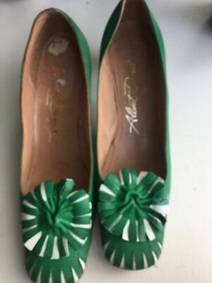Vintage New Albert Durelle Shoes Green White Leather Mod 1970's 8 1/2