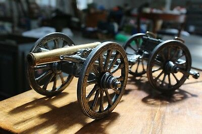 Beautiful Brass Metal Vintage Antique Military Canon Ornaments (See Images)