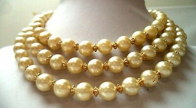 "Stunning Vintage Estate Signed Hong Kong Faux Pearl 17"" Necklace!!!! 1095Z"