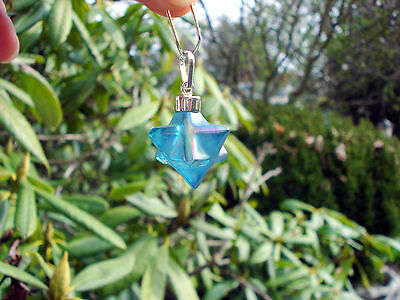 AQUA AURA QUARTZ Merkaba-Star Of David-DoubleTetrahedron Pendant-Magical  Energy