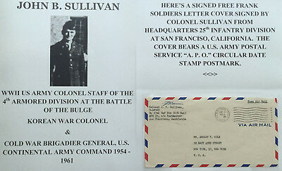 WWII COLONEL 4th ARMORED DIV BATTLE BULGE COLD WAR GENERAL SIGNED LETTER COVER !