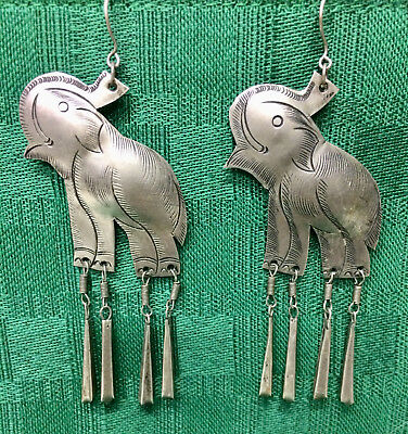 Pewter Earrings - Elephant - Dangles - Preowned