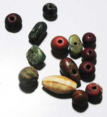Zurqieh - As5964- Ancient Egypt,  Lot Of 14 Stone Beads. New Kingdom. 1400 B.c