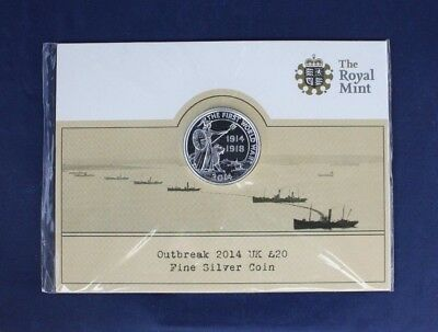 "2014 Royal Mint Silver £20 coin ""WWI Outbreak"" on Card - Sealed   (M2/52)"