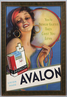 Framed 1930s Avalon Cigarettes Gypsy Girl Pin-Up Vintage Advertising Poster Rare