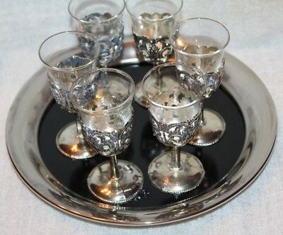 VTG! Easel 1779 Silverplate Tray w/ 6 Cordial Wine Aperitif Shot Glasses Goblets