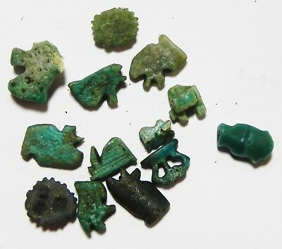 Zurqieh - As5969- Ancient Egypt - Lot Of 13 Faience Amulets. 600 - 300 B.c