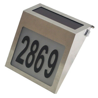 House Number Lamp Solar Powered LED Light Door Sign Plaque Digits Plate Lamp