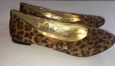Girls Stevies Flat Shoes Size 13 Animal Print With Rhinestone