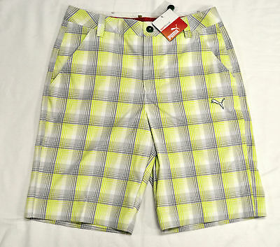 2f69efcdaac3 MEN S PUMA GOLF Plaid Tech Bermuda Shorts Lime Punch size 28 (T93)  70 -   14.99