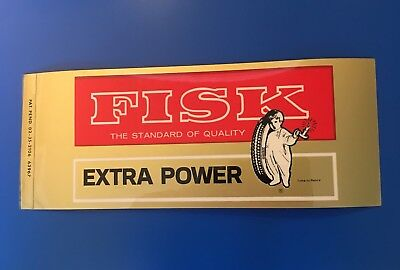 FISK Tire Battery Auto Parts X-Large GLOSSY RARE OLD STICKER DECAL & Bonus!