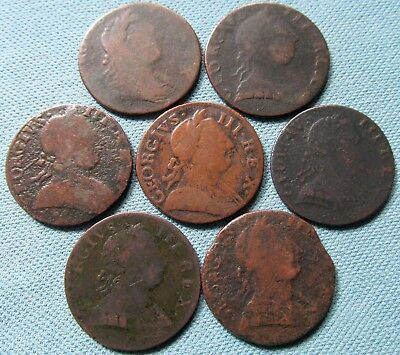 Lot of 7 King George III British US Colonial Halfpennies-18thC Non Regal Study 1