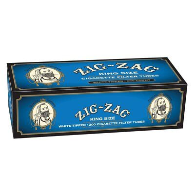 1x Box Zig Zag Light King Size ( 200 Tubes ) Blue Cigarette Tube Tobacco