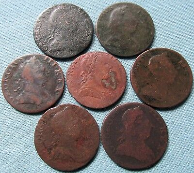 Lot of 7 King George III British US Colonial Halfpennies-18thC Non Regal Study 2