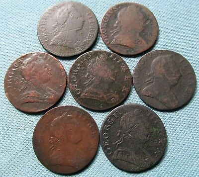 Lot of 7 King George III British US Colonial Halfpennies-18thC Non Regal Study 3