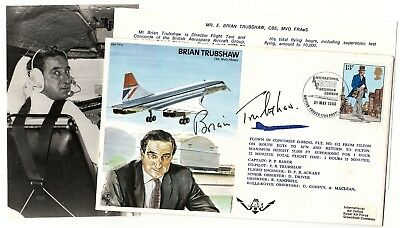 RAF Cover TP12c Concorde Flown 1980 Signed By Chief Test Pilot Brian Trubshaw