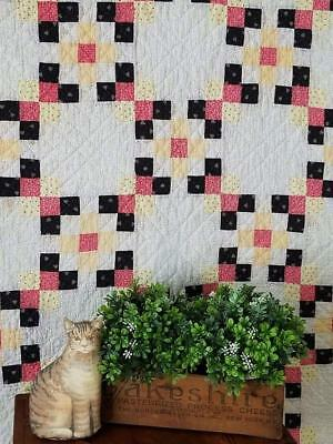 Early One! Antique c1880 Farmhouse 25 Patch Tiny Pieces QUILT 73x73