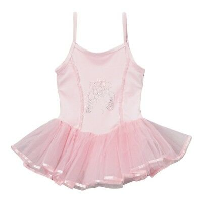 Girls Pink Ballet Slipper Applique Skirted Dance Leotard 12M-10