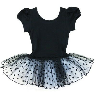 Wenchoice Little Girls Black White Heart Short Sleeve Ballet Dress 24M-8