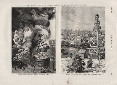 OLD ANTIQUE 1876 PRINT SCENES FROM OIL WELLS ON THE ALLAGHANY RIVER b43