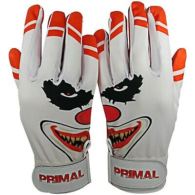 "Primal Baseball's Adult Baseball Clown Batting Gloves ""Crazy"" Size Small"