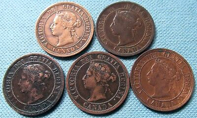 Lot of 5 Canada Queen Victoria Large Cent One Cent 1882-H 1884 1886 1887 1888