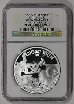 2014 Niue Disney $2 Silver Steamboat Willie Mickey Mouse PF70 Ultra Cameo w/box