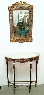 Vintage Bronze & Onyx Console Table and Matching Bronze Mirror Oscar Bach Style