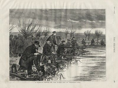 OLD 1875 PRINT ANGLING FISHING MATCH ON THE RIVER LEA AT PONDER'S END b43