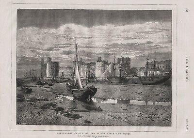 OLD 1875 PRINT WALES CAERNARVON CASTLE ON THE SEIONT RIVER AT LOW WATER b43