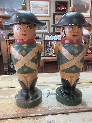 Pair of Vintage Italian Bronzini WOOD Soldier containers Signed