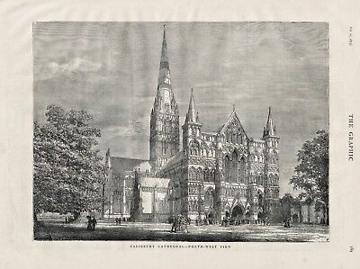 OLD ANTIQUE 1875 ENGRAVING PRINT SALISBURY CATHEDRAL NORTH WEST VIEW  b43