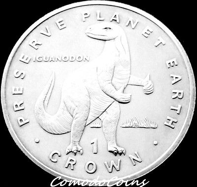1993 Isle Of Man 1 Crown Coin WWF Preserve Planet Earth Dinosaur Iguanodon Rare