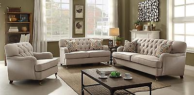 ACME 52580 ALIANZA Button Tufted Beige Fabric Sofa Set 3Pcs ...