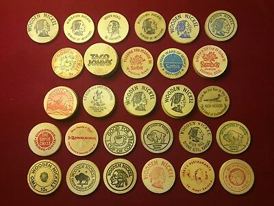 Lot of 38 Wooden Nickels - Don't Take Any!! 70's - 90's