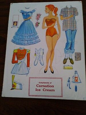 NOS, 1950's CARNATION ICE CREAM PUNCH-OUT PAPER DOLL SET, PROMO
