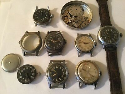 ESTATE LOT of 7  RARE VINTAGE 1942 WWII MILITARY TRENCH WATCHES BULOVA ELGIN