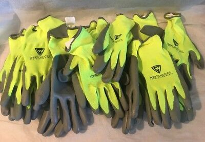 West Chester Protective Gear Touch Screen Yellow Palm Coated Gloves 10 Pairs