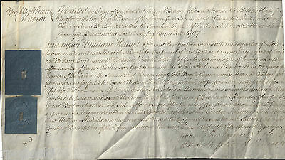 1797 WALTHAM MANOR OLD BRITISH VELLUM DOCUMENT with TWO REVENUE STAMPS