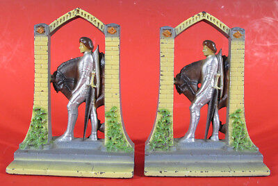 Antique 1920s Cast Iron SIR GALAHAD Painted Art Craft Figural Bookends Pair  yqz