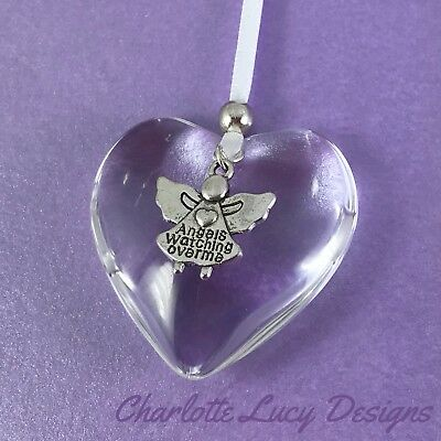 Hanging glass heart angel christmas decoration bauble rememberance memorial