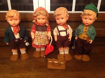 "Vintage MJ Hummel Geobel 12"" Vinyl Character Dolls Lot of 4"