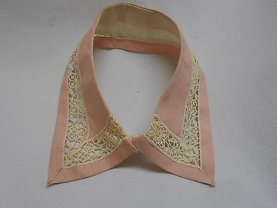 old dainty fancy PINK & cream embroiderd crochet collar shirts blouses dresses