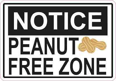 5 x 3.5 Picture Notice Peanut Free Zone Sticker Vinyl Food Allergy Decal Sign