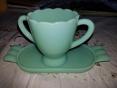 Vintage Mosser Glass Jade Green Sugar Cup With Dish