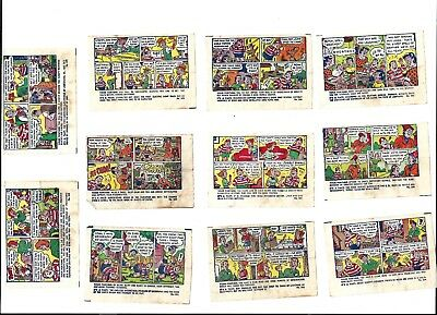 11 different 1930/1940 Fleer Double Bubble comic inserts
